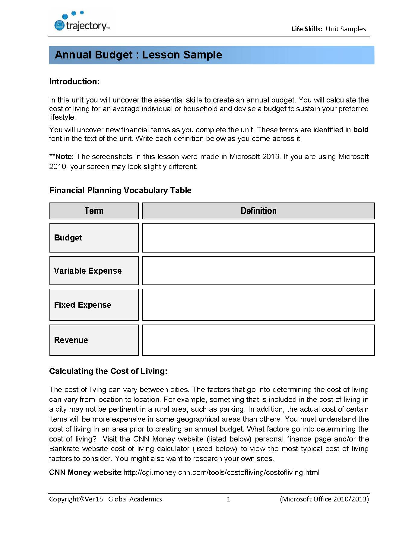 Financial Math Worksheets financial math worksheets worksheet – Budgeting Math Worksheets
